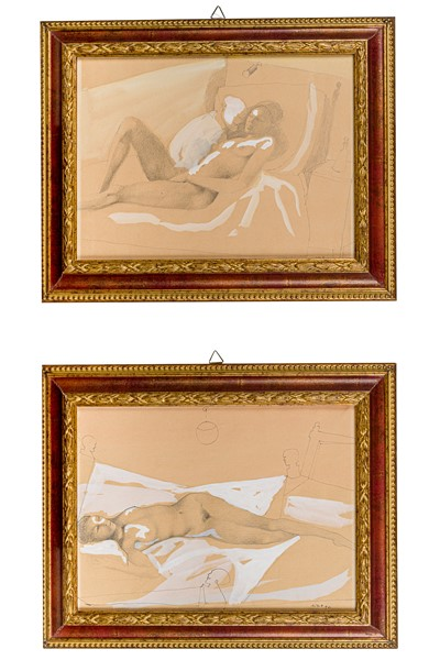 Ugo  Attardi - Pair of female nudes