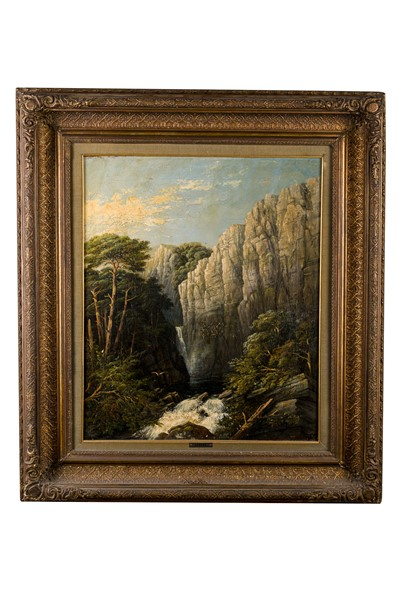 Louis Joseph Lebrun - Mountain landscape with waterfall