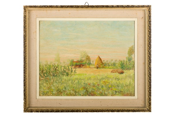 Luigi Caputo - Country landscape with house and farmer