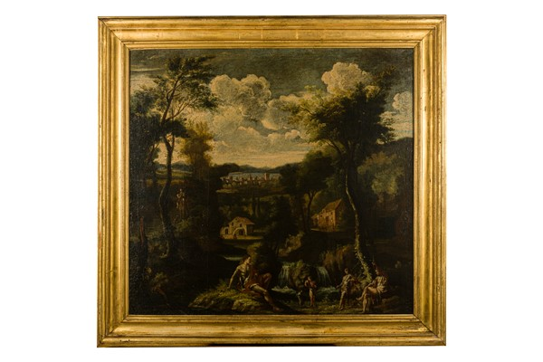 Vittorio Amedeo Cignaroli, maniera di - Arcadian river landscape with a stream, small waterfall and shepherds