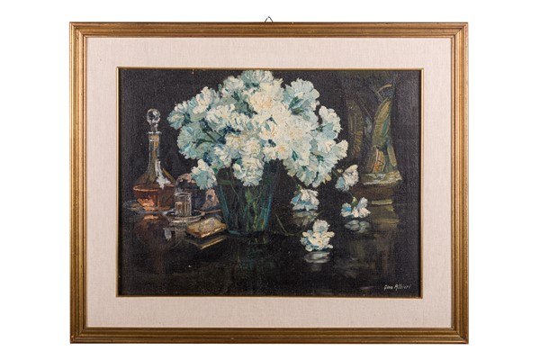 Gino Albieri - Still Life with White Carnations