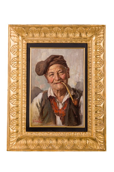 Vincenzo Caprile (a firma di) - Portrait of an elderly man with a pipe